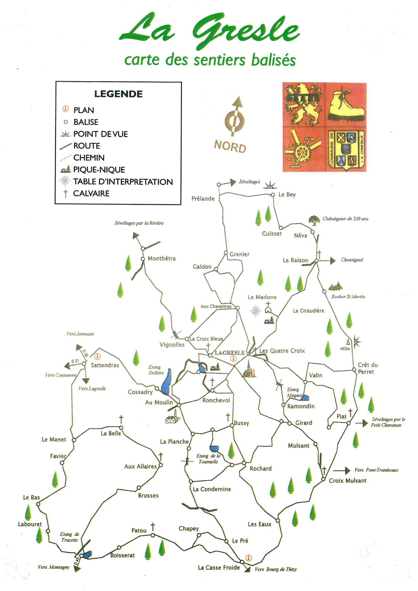 carte des sentiers balisés sur la commune de La Gresle